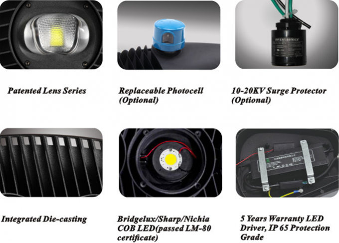 IK09 Hight Power LED COB Street Light 180w Aluminum Die Casting Housing High Lumen Output Black Color