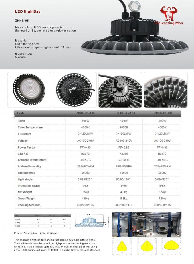 100W- 200W LED Round High Bay lamp IP66 with excellent surface treatment Diecasting Aluminium ADC-3