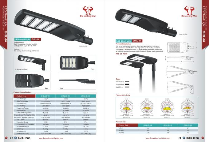 Outdoor High Power LED Street Light IP66 For Industrial Area ZHSL-20
