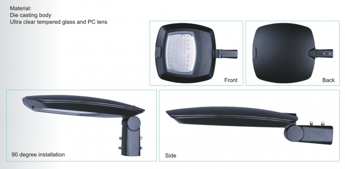 urban led street light Ultra clear tempered glass and PC lens Both Horizontal and Vertical available